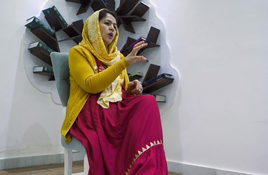 In this photo taken on February 18, 2019, Fawzia Koofi, a former member of Afghan Parliament and Chairperson of Women, Civil Society and Human Rights Commission gestures as she speaks during an interview with AFP at her home in Kabul. (AFP)