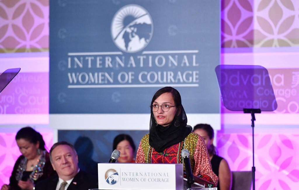 Zarifa Ghafari of Afghanistan speaks during the annual International Women of Courage (IWOC) Awards ceremony at the State Department in Washington, DC on March 4, 2020. (AFP)