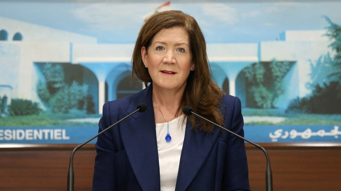 US Ambassador to Lebanon Dorothy Shea speaks after meeting with Lebanon's President Michel Aoun at the presidential palace, March 25, 2021. (Reuters)