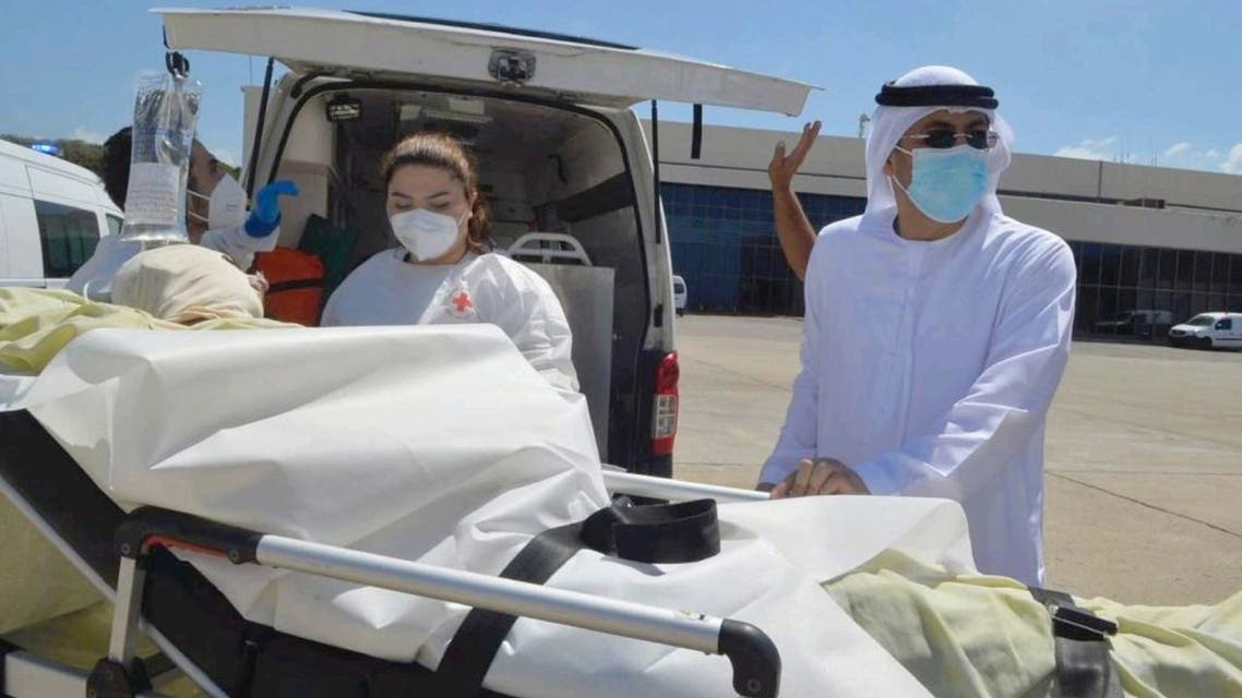 A medevac flight has arrived at the Abu Dhabi International Airport, carrying victims of a fuel tank blast that killed at least 28 people in northern Lebanon. (Supplied: WAM)