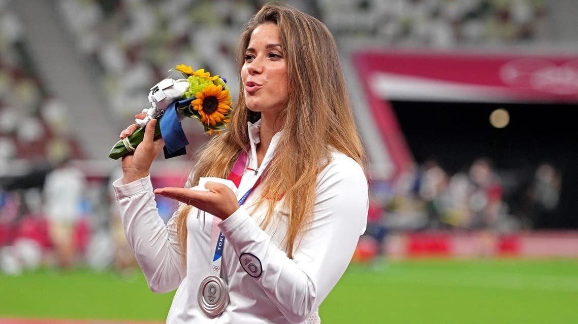 Maria Andrejczyk (PoOland) celebrates winning the silver medal in women's javelin throw during the Tokyo 2020 Olympic Summer Games at Olympic Stadium on August 7, 2021. (Reuters)