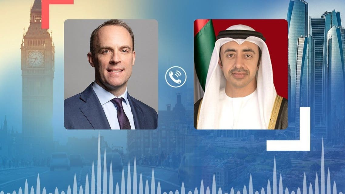The United Arab Emirate's Minister of Foreign Affairs and International Cooperation Sheikh Abdullah Bin Zayed al-Nahyan has held a phone conference with UK Foreign Secretary Dominic Raab to discuss the unfolding situation in Afghanistan. (Supplied: WAM).