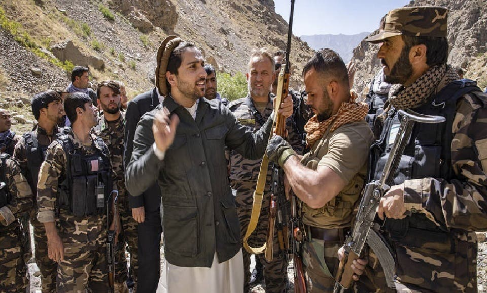 Ahmed Masoud with his gunmen in the Panjshir province