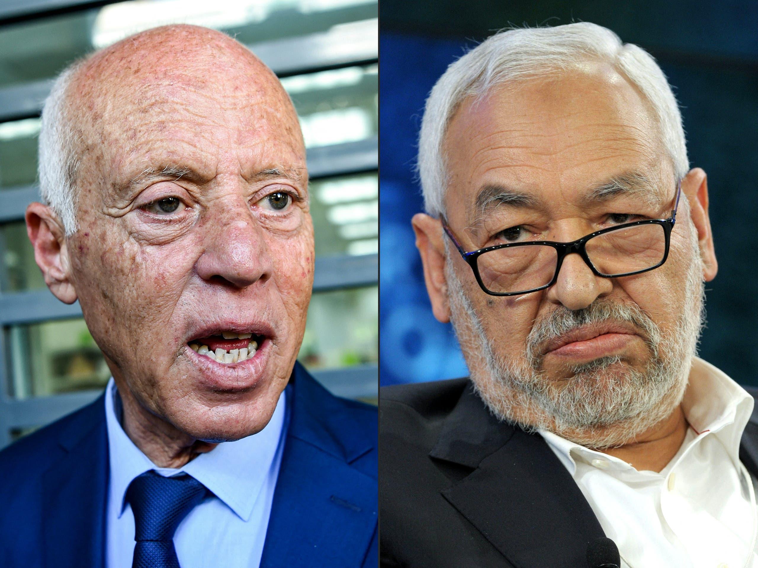 زعيم النهضة راشد الغنوشي والرئيس التونسي قيس سعيد (أرشيفية- فرانس برس)