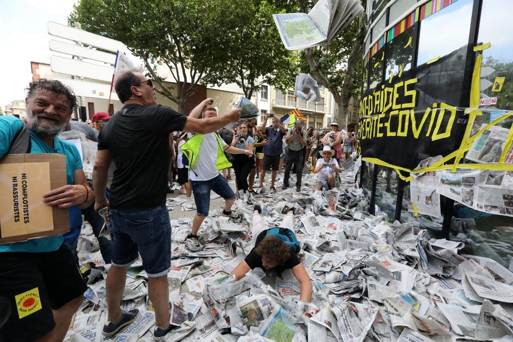 من مظاهرات فرنسا ضد شهادة كوفيد 19 - فرانس برس