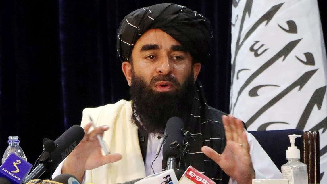 Taliban spokesman Zabihullah Mujahid speaks during a news conference in Kabul, Afghanistan August 17, 2021. (Reuters/Stringer)