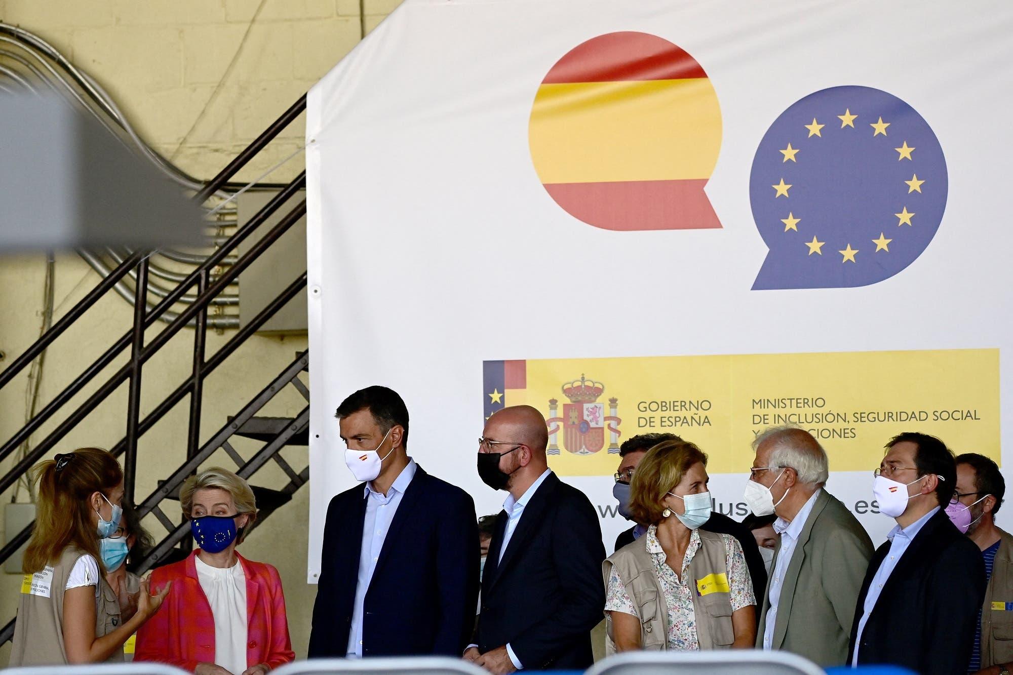 من مركز استقبال في مدريد لموظفين أفغان لدى مؤسسات تابعة للاتحاد الأوروبي