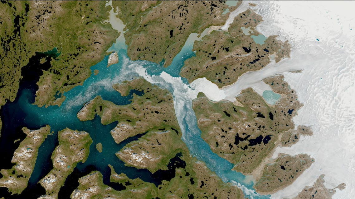 A satellite image shows Nuuk Fjord, Greenland July 29, 2021. (Reuters)