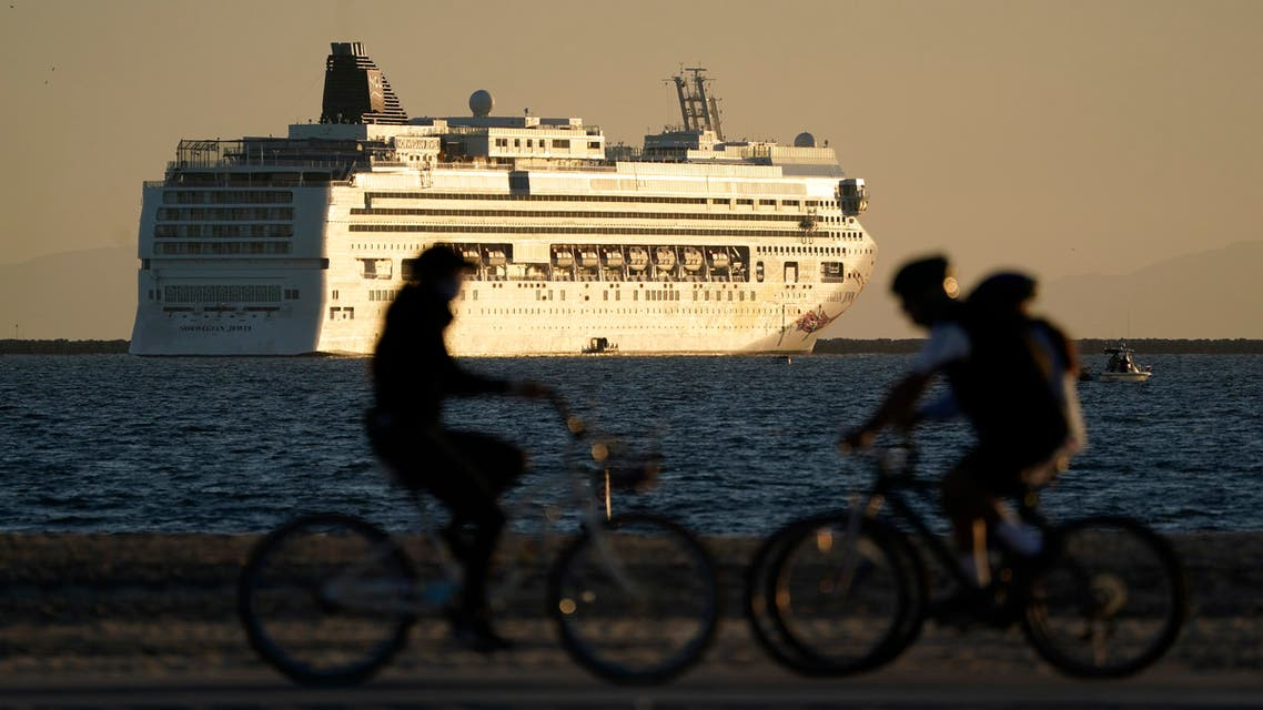 A cruise ship is parked just off the coast of Long Beach, California, on November 9, 2020. (AP)
