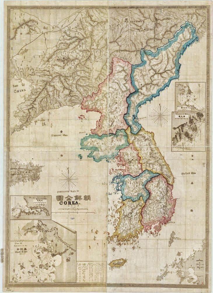 خريطة قديمة لشبه الجزيرة الكورية