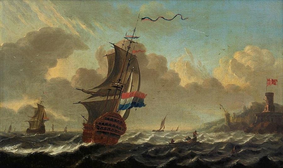 لوحة تجسد عددا من السفن الهولندية
