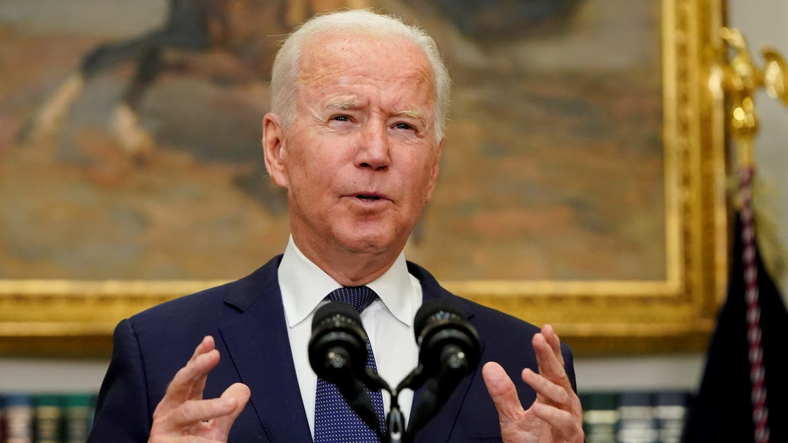 U.S. President Joe Biden gestures as he answers questions about Hurricane Henri and the evacuation of Afghanistan during a news conference in the Roosevelt Room of the White House in Washington, D.C., U.S. August 22, 2021. REUTERS/Joshua Roberts