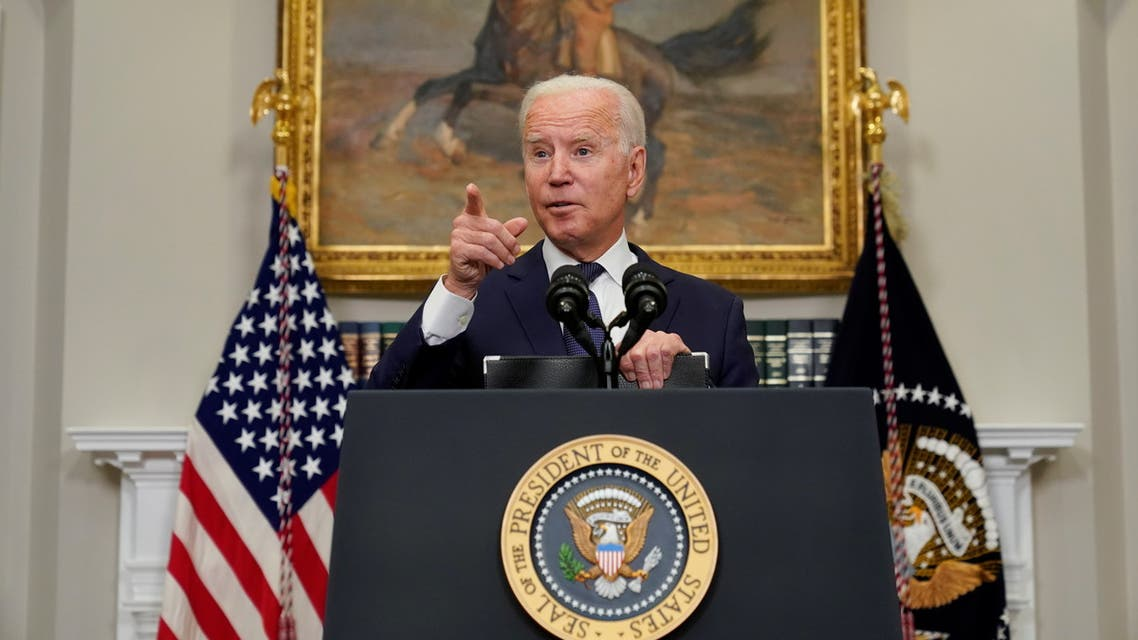 President Joe Biden gestures as he answers questions about the evacuation of Afghanistan, August 22, 2021. (Reuters)
