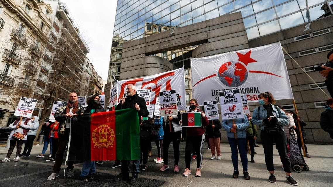 Activists demonstrate in support of the Afghan people, following the Taliban takeover of Afghanistan, outside the Ministry of Foreign Affairs in Buenos Aires, Argentina, on August 23, 2021. (Reuters)