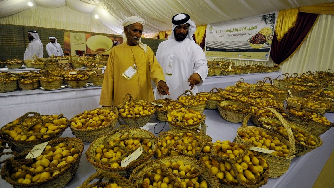 File photo of date experts from the UAE looking at baskets of Kholas dates during the sthe Liwa Date Festival, in the Western Region of Abu Dhabi. (Reuters)