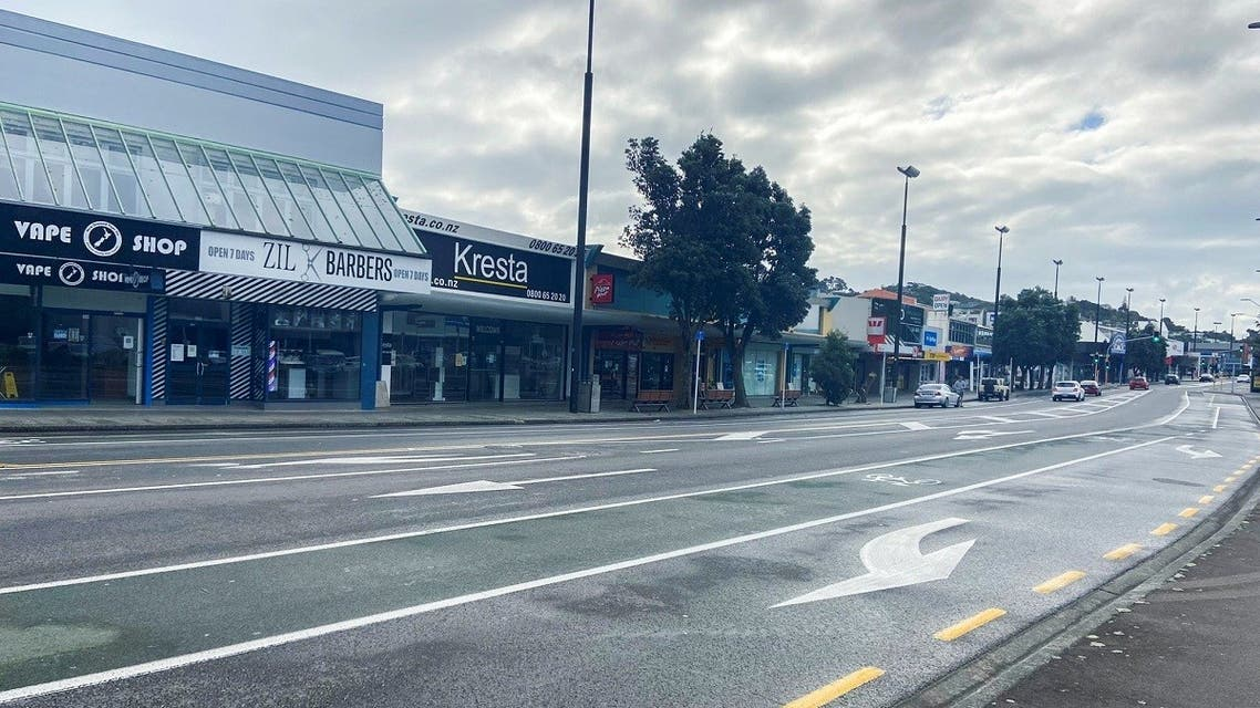 An empty street is seen as a lockdown to curb the spread of cases of the coronavirus remains in place in Wellington, New Zealand, on August 20, 2021. (Reuters)