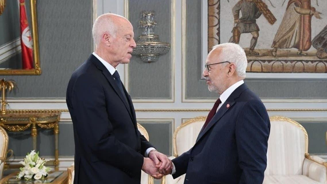 قيس سعید، رئیس جمهوری تونس به همراه راشد الغنوشی