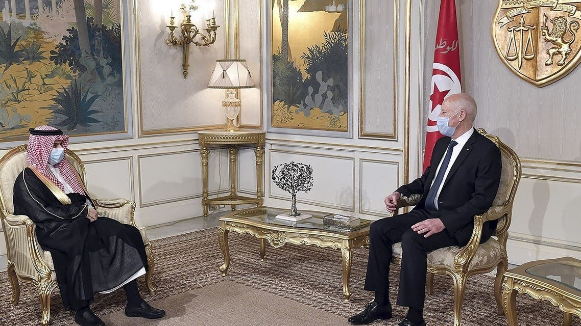 In this handout picture provided by the Tunisian Presidency Press Service, Tunisian President Kais Saied meets Saudi Foreign Minister Prince Faisal bin Farhan (L) at Carthage Palace in Carthage, some 15 kilometres on the outskirts of Tunis, on July 28, 2020. (AFP)