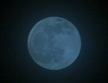 One way to make a Blue Moon is by using a blue filter. (Image: NASA)