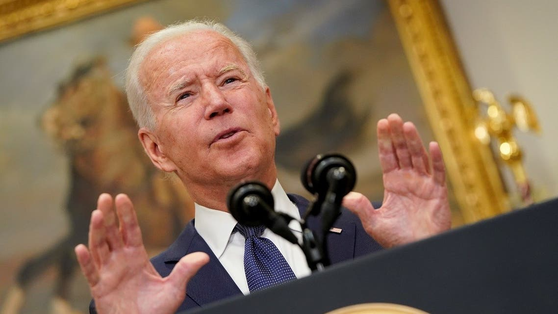 US President Joe Biden gestures as he speaks about Hurricane Henri and the evacuation of Afghanistan in the Roosevelt Room of the White House in Washington, DC, US, August 22, 2021. (Reuters)