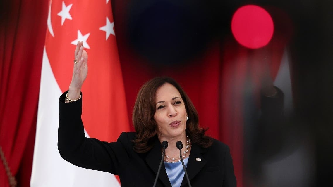 US Vice President Kamala Harris and Singapore's Prime Minister Lee Hsien Loong (not pictured) hold a joint news conference in Singapore, on August 23, 2021. (Reuters)