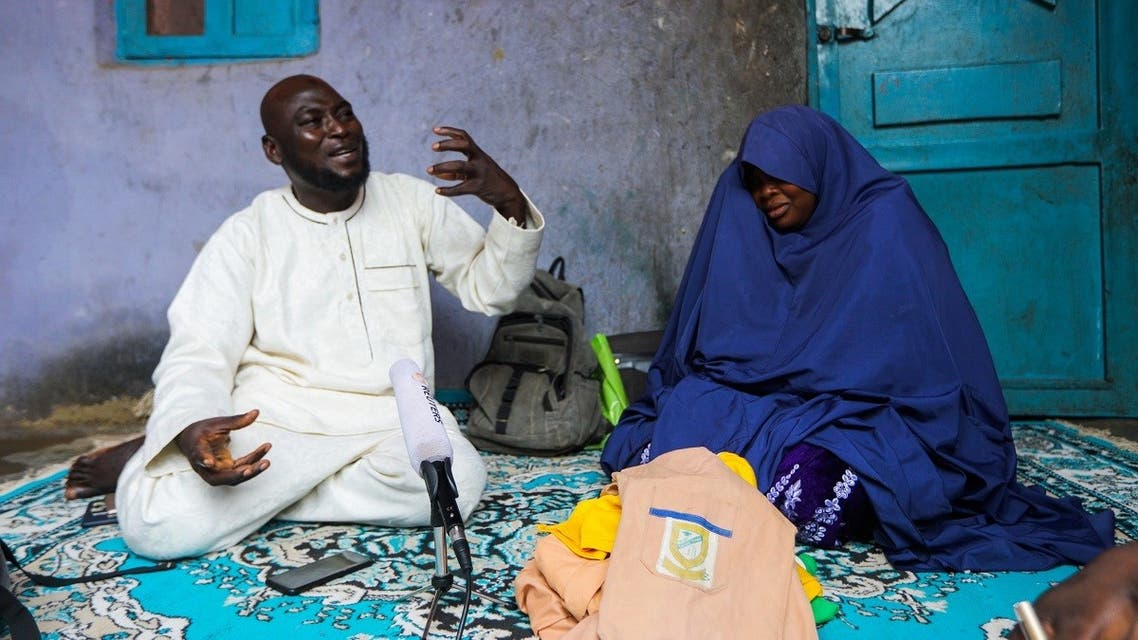 Abubakar Adam and wife, parents of seven children kidnapped at Salihu Tanko Islamic school by bandits, speak during an interview with Reuters at their house in Tegina, Niger State, Nigeria August 11, 2021. (Reuters)