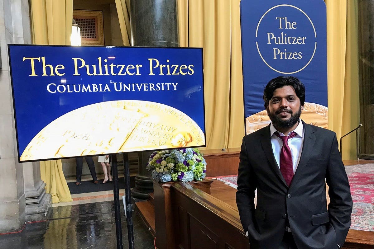 Danish Siddiqui, a Reuters photographer based in India, poses for a picture at Columbia University's Low Memorial Library during the Pulitzer Prize giving ceremony, in New York, U.S., May 30, 2018.  (Reuters)