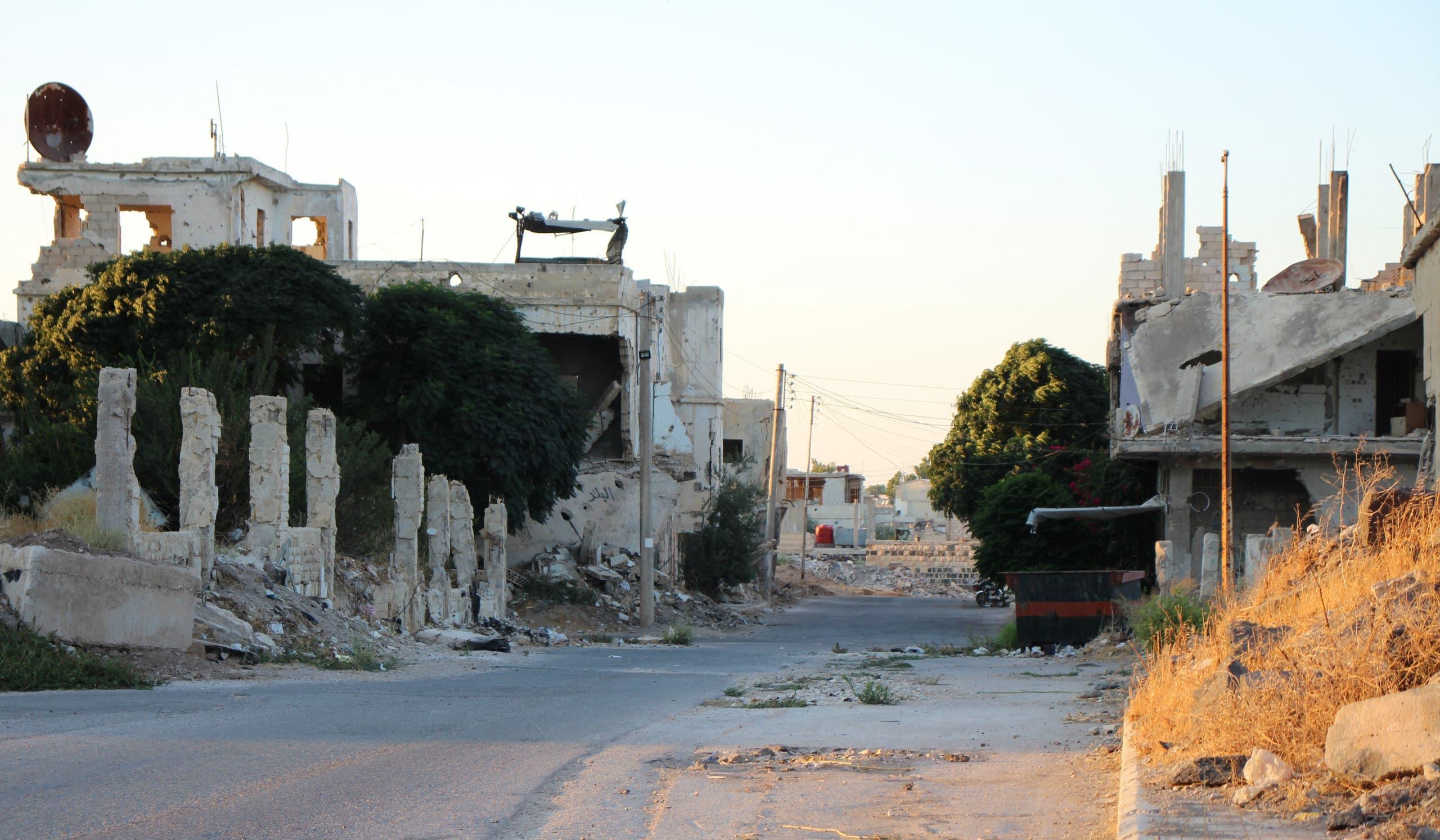 شوارع درعا البلد خالية من المارة والسكان بسبب هجوم قوات النظام
