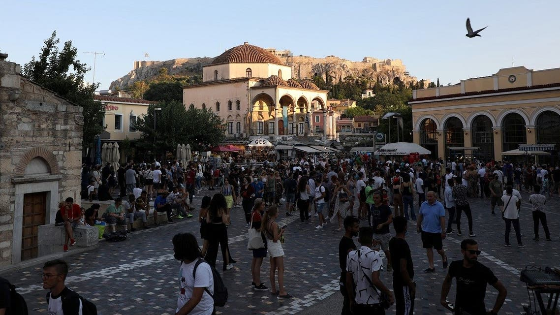 People visit Monastiraki square in Athens, Greece, July 25, 2021. (Reuters/Louiza Vradi)