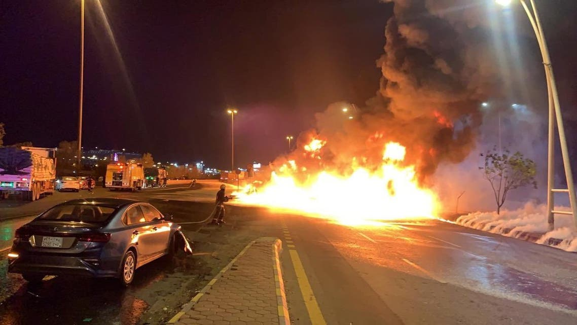 A photo tweeted by the official Mecca government account showing a large fire on the Mecca-Jeddah highway after a petroleum truck was involved in a traffic accident. (Twitter)