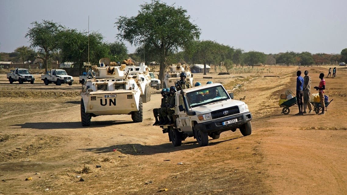 A file photo shows peacekeeper troops from Ethiopia and deployed in the UN Interim Security Force for Abyei (UNISFA) patrol outside Abyei town, in Abyei state, on December 14, 2016. (Albert Gonzalez Farran/AFP)