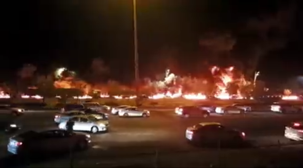 Screengrab from a video showing a petroleum fire on the Mecca-Jeddah highway published on August 24 2021. (Twitter)