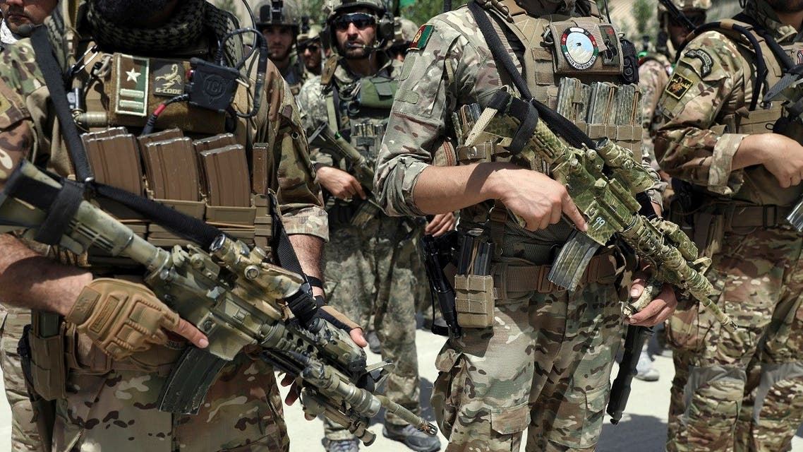Newly Afghan Army Special forces attend their graduation ceremony after a three-month training program at the Kabul Military Training Centre (KMTC) in Kabul, Afghanistan, Saturday, July 17, 2021. (AP)