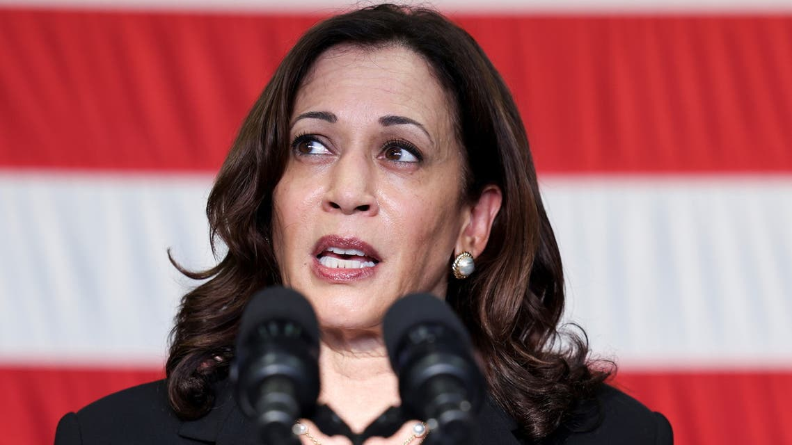 US Vice President Kamala Harris speaks to troops as she visits the USS Tulsa in Singapore, August 23, 2021. (Reuters)
