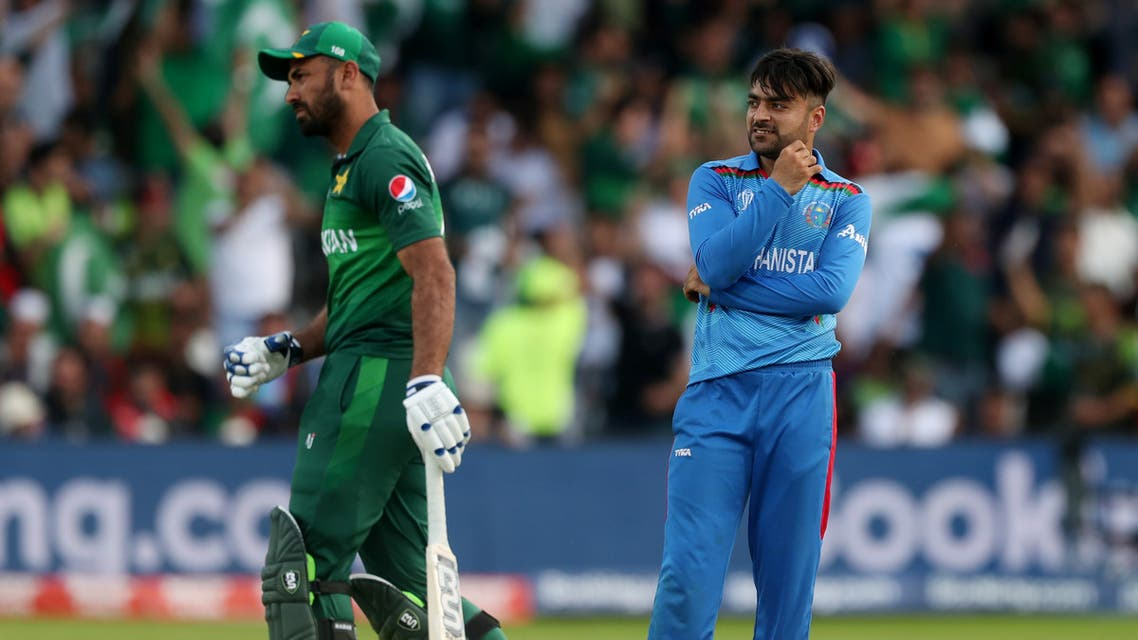 Afghanistan Rashid Khan reacts in an image taken during the Pakistan v Afghanistan match of the 2019 ICC World Cup in Headingley, Leeds, Britain on June 29, 2019. (Reuters)