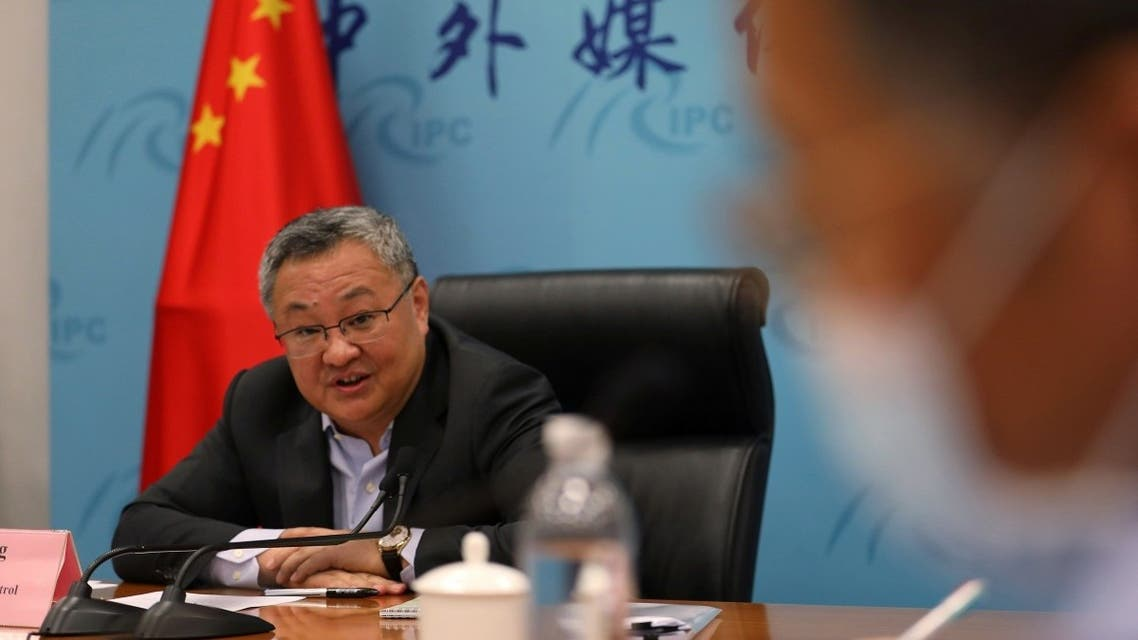 Fu Cong, the director-general of the arms control department of Chinese foreign ministry, speaks at a news conference on COVID-19 origin-tracking related issues, in Beijing, China August 25, 2021. (Reuters/Tingshu Wang)
