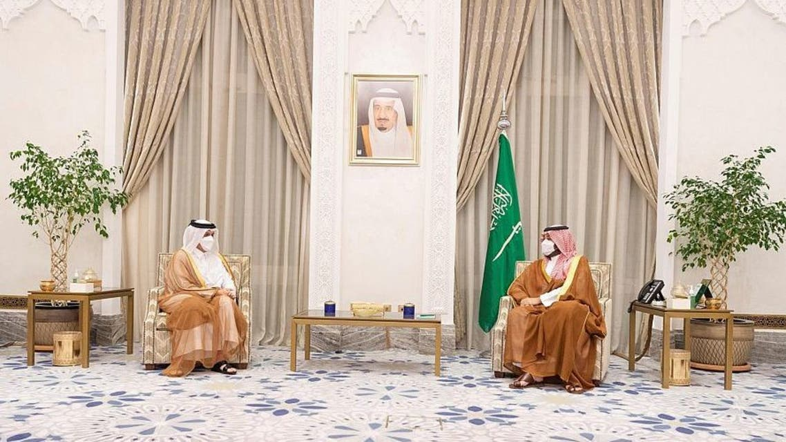 Saudi Arabia's Crown Prince Mohammed bin Salman received on Wednesday Qatar's Minister of Foreign Affairs Sheikh Mohammed bin Abdulrahman Al Thani in NEOM. (SPA)