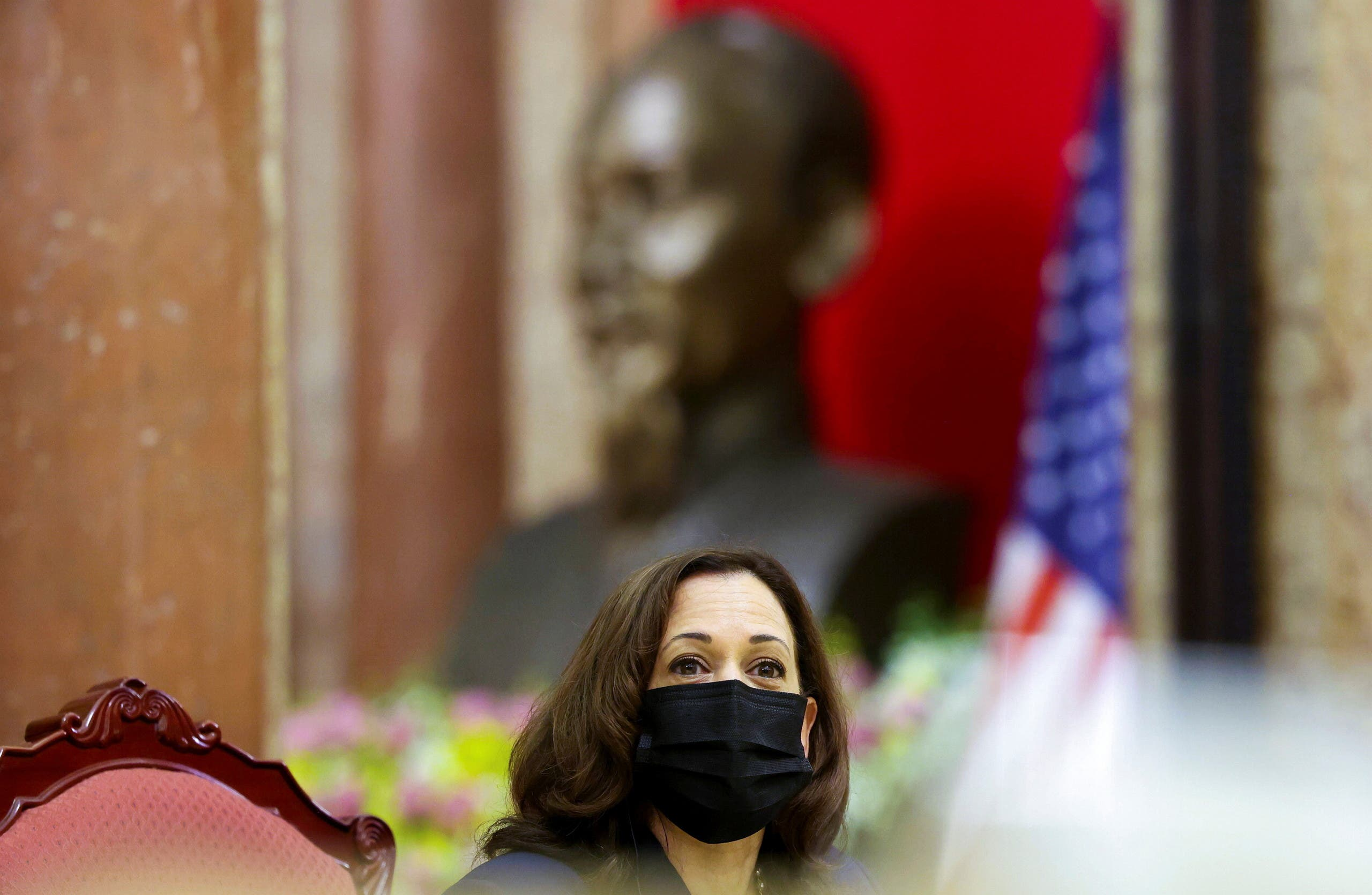 US Vice President Kamala Harris looks on during her meeting with Vietnam's Vice President Vo Thi Anh Xuan in the Gold Room of the Presidential Palace, in Hanoi, Vietnam, August, 25, 2021. (Reuters)