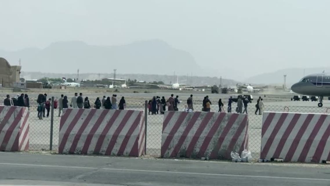 Turkish army footage shows evacuation efforts at Kabul airport, on August 22, 2021. (Turkish army handout via Reuters)