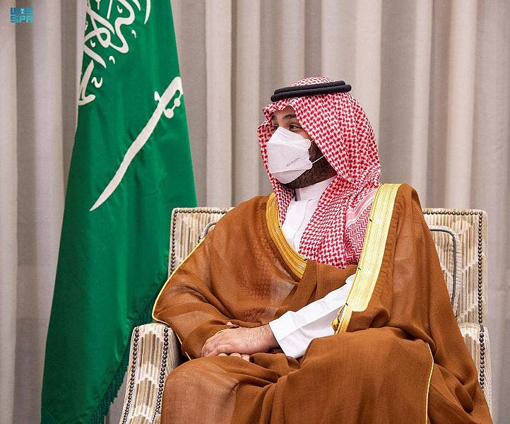 الأمير محمد بن سلمان خلال استقباله وزير خارجية قطر اليوم