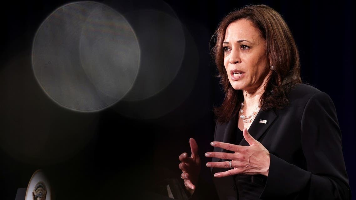US Vice President Kamala Harris holds a news conference before departing Vietnam for the United States following her first official visit to Asia, in Hanoi, Vietnam, on August 26, 2021. (Reuters)