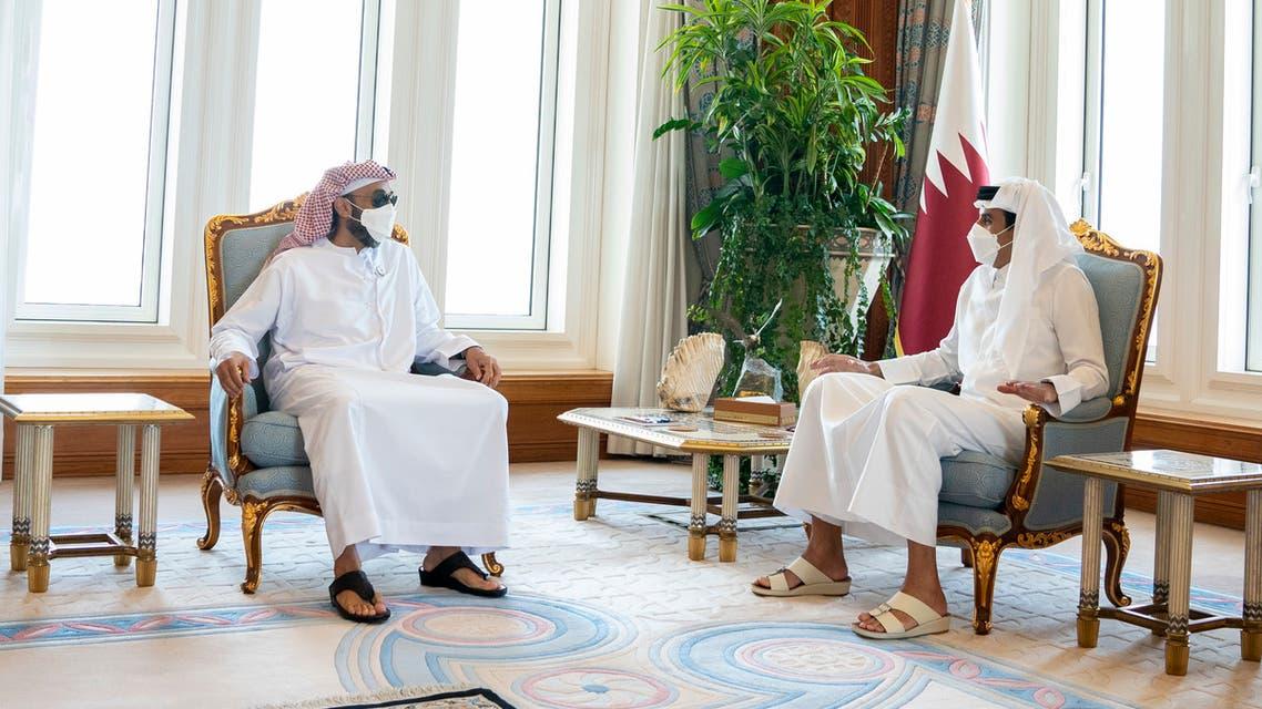 Qatar's Emir Sheikh Tamim bin Hamad Al Thani receives a delegation headed by the UAE's Sheikh Tahnoun bin Zayed Al Nahyan, National Security Adviser. (WAM)