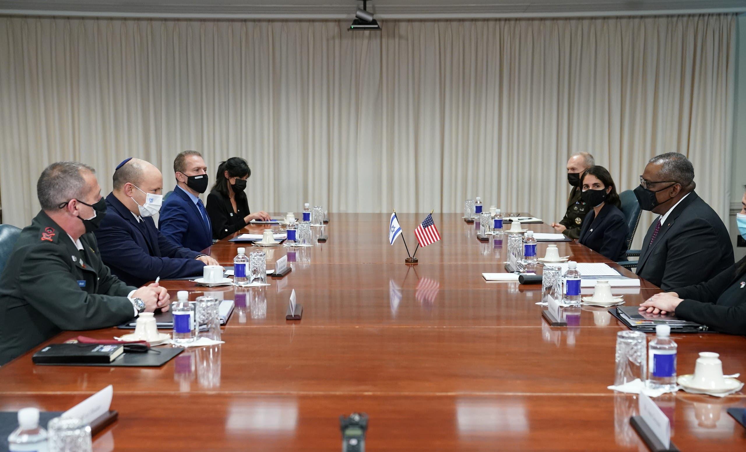 خلال لقاء بينيت مع وزير الدفاع الأميركي لويد أوستن