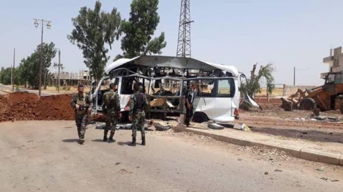 تفجير-حافلة-مبيت-عسكرية-لقوات-النظام-درعا