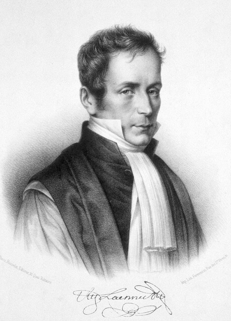صورة للطبيب الفرنسي رينيه لينيك مخترع السماعة الطبية