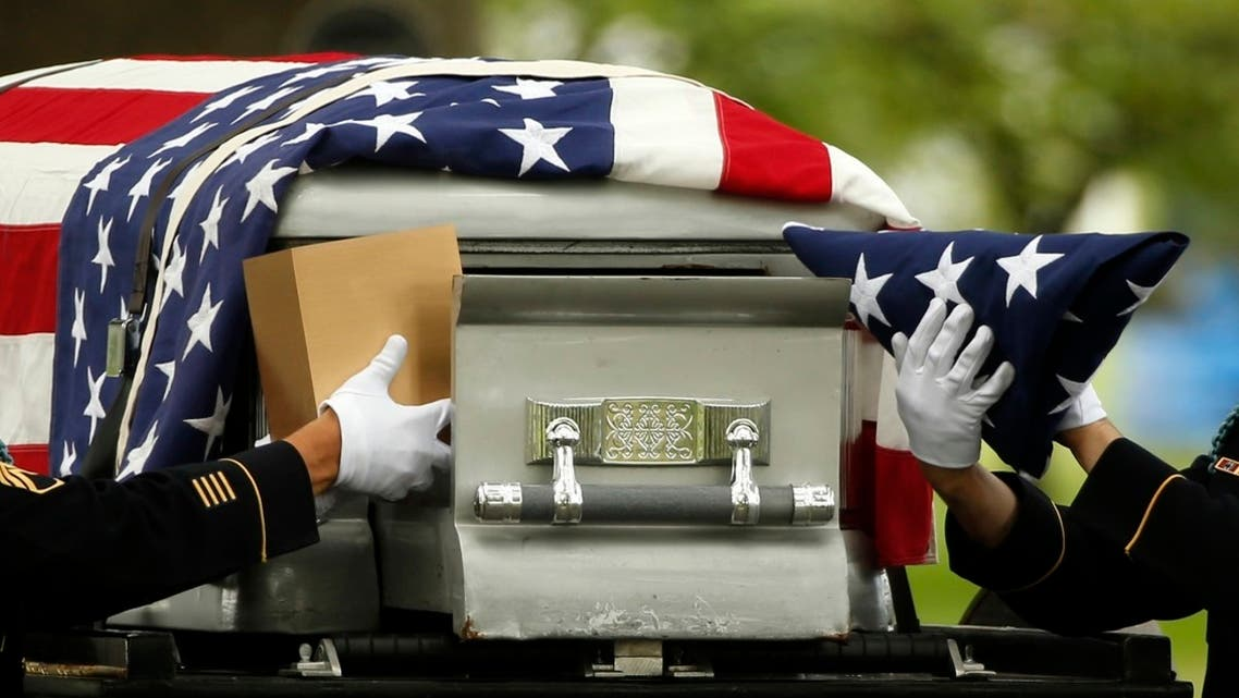 Members of the Old Guard remove the casket with the remains of a killed US Army soldier killed in Kabul, Afghanistan. (File Photo: Reuters)