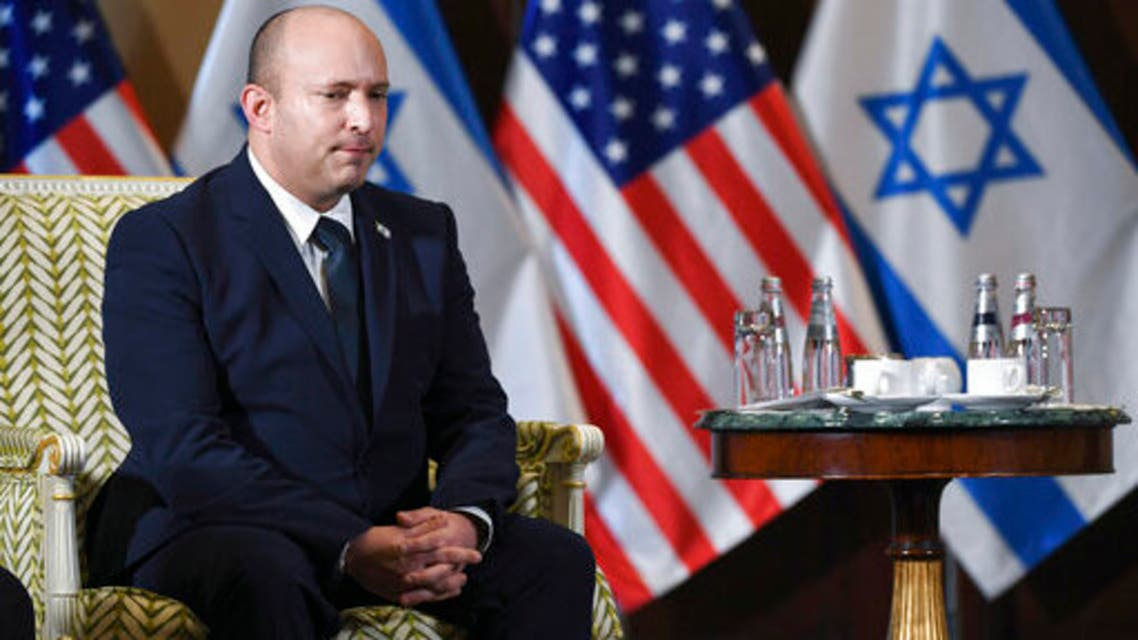 Israeli Prime Minister Naftali Bennett meets with Secretary of State Antony Blinken at the Willard Hotel in Washington, Wednesday, Aug. 25, 2021. (AP)