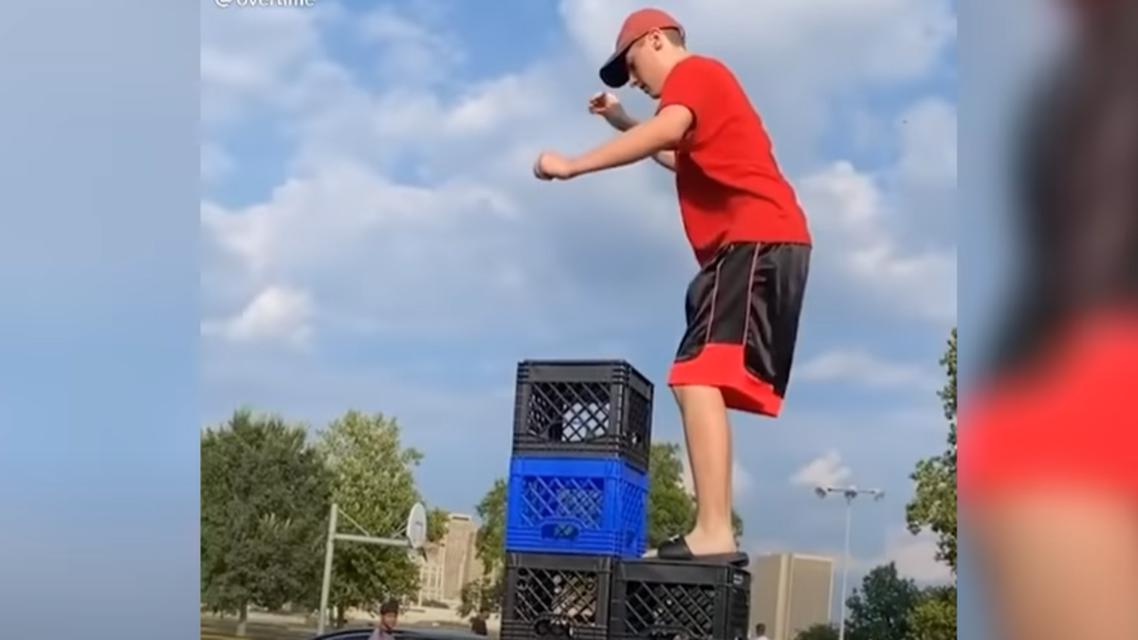 "The viral ""milk crate challenge."" (Screengrab)"
