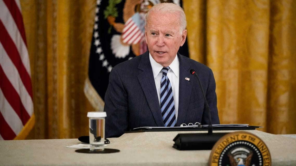 US President Joe Biden at a meeting about improving the nation's cybersecurity, Aug. 25, 2021. (AFP)