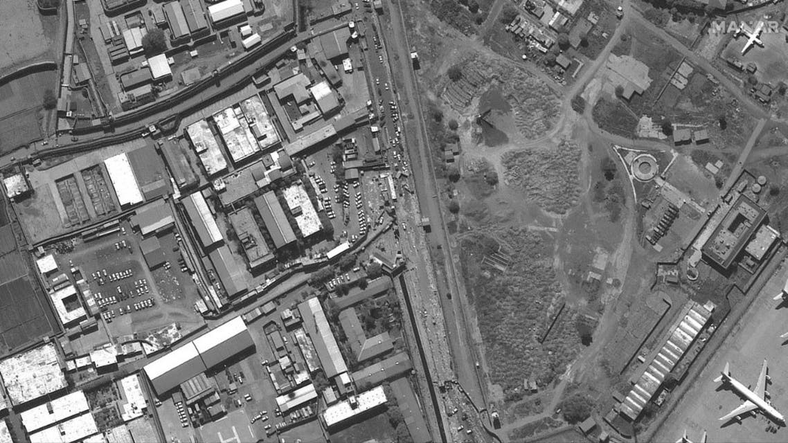 This August 27, 2021, satellite image courtesy of MAXAR, shows the area around the Abbey Gate at Hamid Karzai International Airport in Kabul.  (AFP)